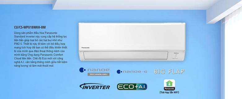 Máy lạnh PANASONIC CU/CS-WPU18WKH-8M Inverter   Công suất hoạt động 2HP