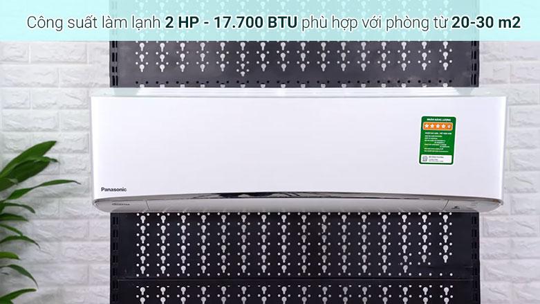 Máy lạnh Panasonic Inverter 2 HP CU/CS-XU18UKH-8   Công suất làm lạnh 2HP