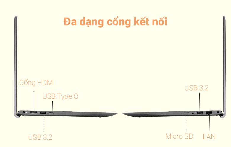 aptop Dell Vostro 15 5502 (5520-70231340) (i5-1135G7) (Xám) | Cổng kết nối đa dạng