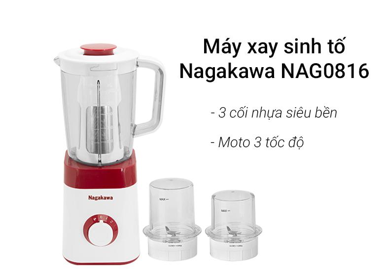 Máy xay sinh tố Nagakawa NAG0816   Đi kèm 3 cối xay tiện lợi