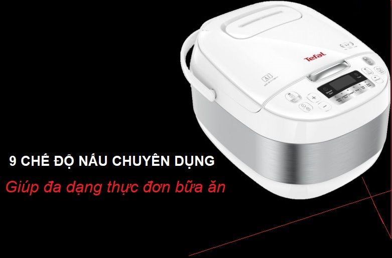 Nồi cơm điện tử Tefal RK752168 - 1.8L, 750W   9 chế độ nấu chuyên dụng