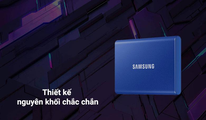 """ổ cứng SSD Samsung Portable T7 Non Touch 1TB 2.5"""" (MU-PC1T0H/WW) (Xanh)   Thiết kế nguyên khối"""