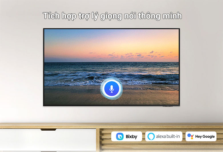 Smart Tivi Samsung 4K UHD 43 Inch UA43AU8000KXXV || tích hợp cả 3 trợ lý giọng nói, gồm có: Bixby, Amazon Alexa và Google Assistant.