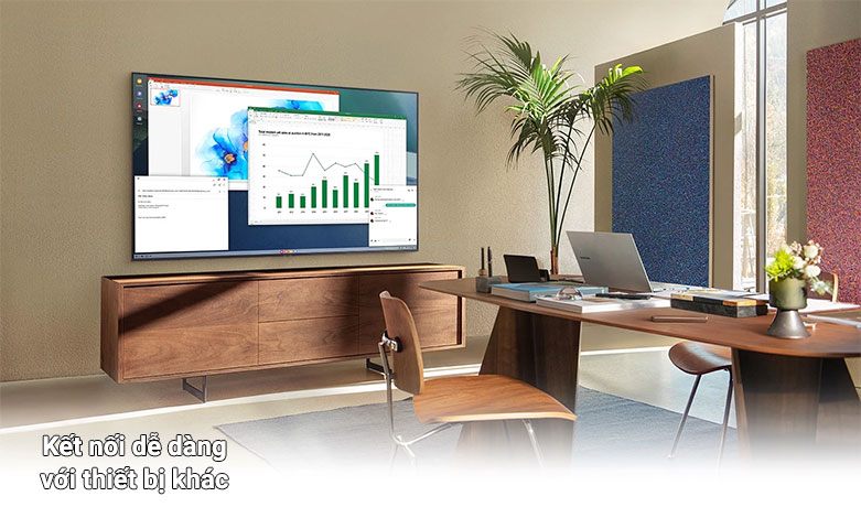 Smart Tivi Samsung 4K UHD 55 Inch UA55AU7000KXXV    dễ dàng truy cập vào các thiết bị khác
