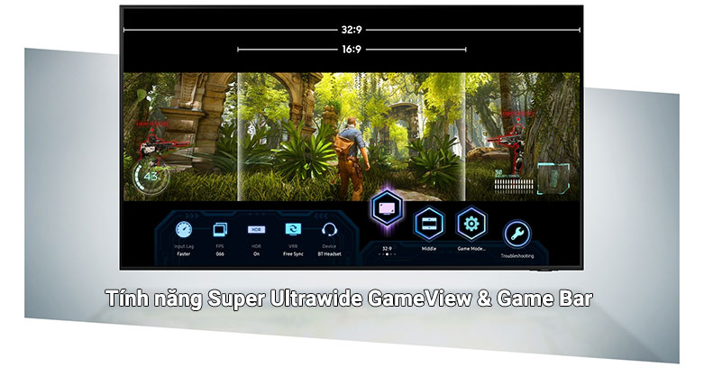 Smart Tivi Samsung 4K UHD 55 Inch UA55AU9000KXXV     tính năng Super Ultrawide GameView & Game Bar