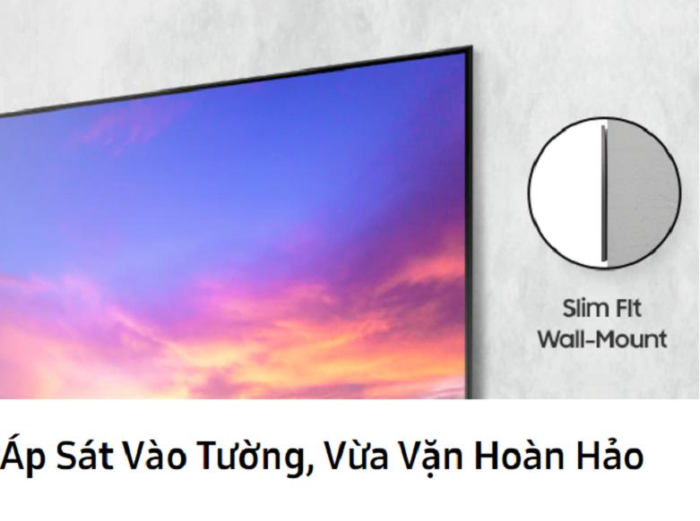Smart Tivi Samsung 4K UHD 65 inch UA65HU9000KXXV    áp sát vào tường một cách vừa vặn hoàn hảo.