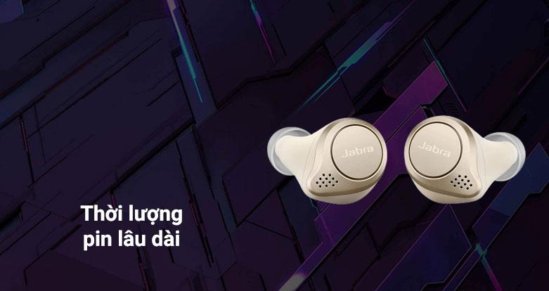 Tai nghe Bluetooth Jabra Elite 75t (Gold Beige)   Thời lượng pin lâu
